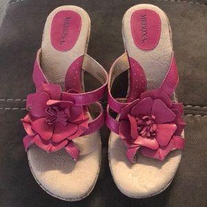 Pink flower wedge sandals